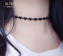 Fashion jewelry simple leather lace tattoo heart choker necklace1 lot=2pieces N1921