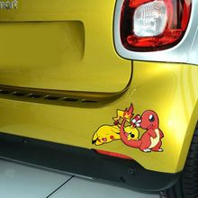 1PC 19*13CM Game Pokemon Fiery Dragon Pikachu Toy Car Styling Anime Motorcycle Car Stickers And Decals Exterior Accessories(China)