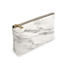 Marble White Pencilcase Pencil Bag Cosmetic Bag with Gold Zipper Fashion Handbags for Makeup Storage Change Holder Coin Wallets(China)