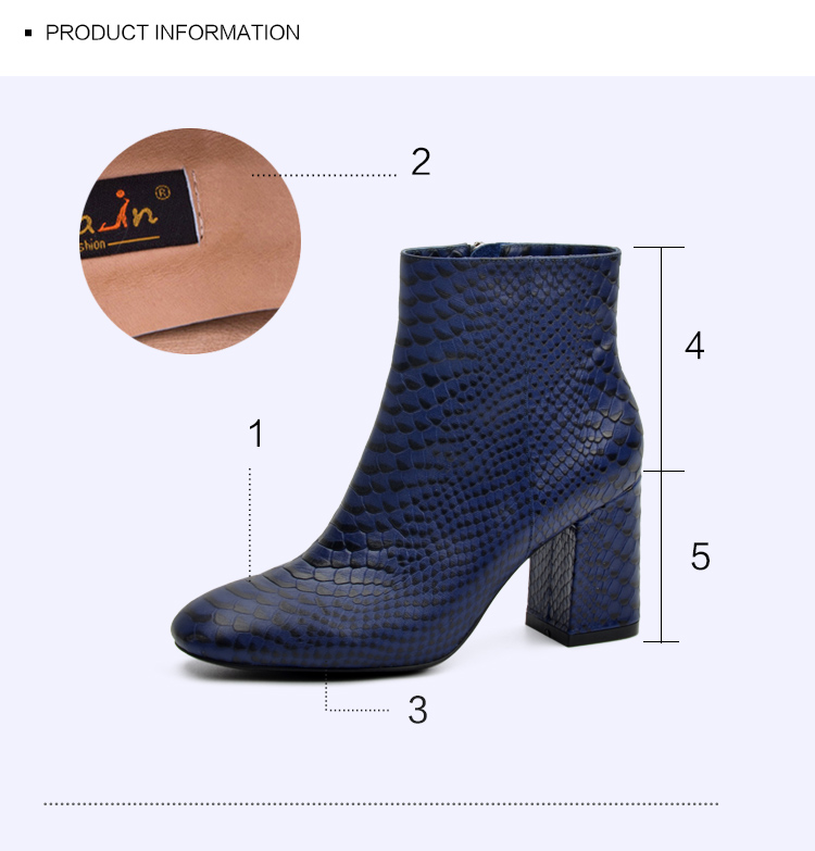 Donna-in 2017 new style ankle boots sexy snake leather women boots retro square toe thick high heel autumn boots 15325-19 (8)