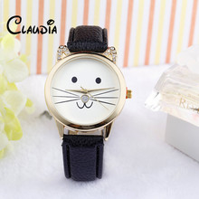 Hot Sale Dropship Fashion Neutral Diamond Lovely Cats Face Faux Leather Quartz Watch CLAUDIA New Arrival Relogio Feminino(China)