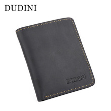[DUDINI] Retro Men's Wallets Luxury High Quality Top Layer Real Cow Leather Card Holder Hand Made Professional Artisans Wallet(China)