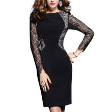 LA-TEE-DA!Free Shipping Spring Summer 2017 Women Lady Fashion New Patchwork Elegant Sexy Lace OL Dating Dinner Party Dresses