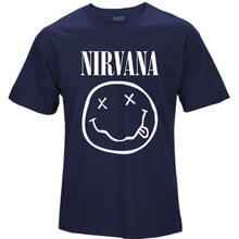 2017 New Brand Nirvana Music Rock Print T-shirt Smile Face Funny T Shirt Top Man Tee Casual T-Shirt Short Sleeve Hiphop Top T030