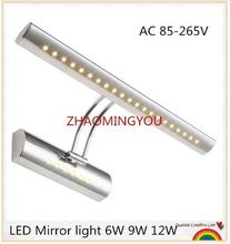 1PCS LED Mirror light 6W 9W 40/55cm AC 85-265V stainless steel bathroom Wall lamps wall sconces lighting with switch(China)