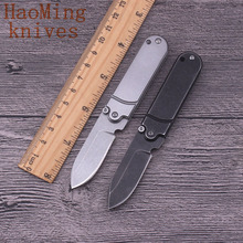 Practical camping survival battle folding knife mini tactical hunting key chain EDC Black blade brand pocket knife rescue tools(China)