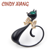 CINDY XIANG 2017 Long Tail Black Cat Brooches Unisex Elegant Animal Brooch Pin Fashion Jewelry Enamel Coat Broches Bijouterie(China)