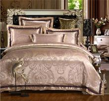 Satin Jacquard Bedding Sets Luxury 4pcs Embroidered Bed Set Silk/Cotton Quilt Cover Bed Linen Set Pillowcases Queen King Size