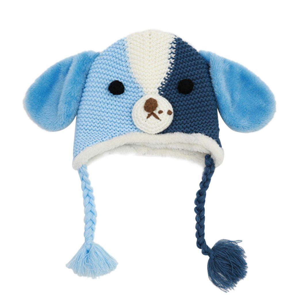 2015 New fashion winter girl boy cute dog shape kids warm wool knit fringed soft liner cap 61Одежда и ак�е��уары<br><br><br>Aliexpress