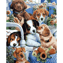 40*50  Puppy Pet leisurely Painting for living room By Numbers Canvas art cuadros decoracion Oil Painting picture poster  DY591