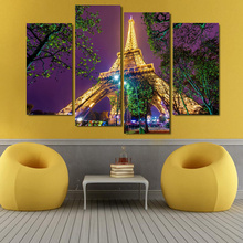 4 Piece canvas art Eiffel Tower Night Landscape Decoration for home Canvas Art  Print Canvas Painting On Canvas Art works\J0567