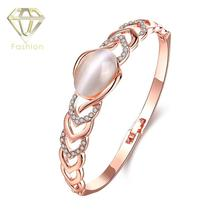 Buy Jewellery Online Brand Luxury Rose Gold Color Inlaid Zirconia Bracelet Bangle with Opal Stone Rhinstone Wedding Arm Bangles
