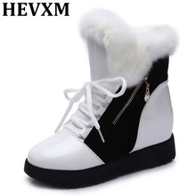 HEVXM Black/White 2017 New Fashion Winter Warm Fur Snow Boots Women Martin Ankle Boots Casual Flat Shoes Booties Botas Femininas