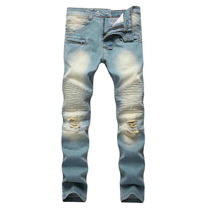 Men's Fashion Brand Designer Ripped Biker Jeans Men Distressed Moto Denim Joggers Washed Pleated Jean Pants Black Blue 5