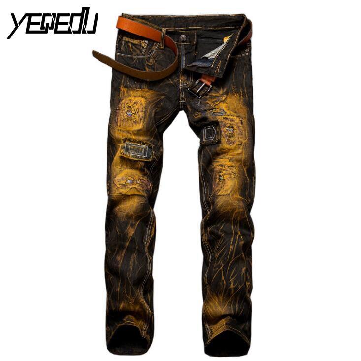 #3401 2017 Straight Vintage Mens biker jeans Slim Skinny Ripped jeans for men Hip hop Denim biker jeans men Famous brand JoggerОдежда и ак�е��уары<br><br><br>Aliexpress