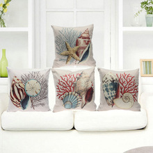 Sea Marine life Cushion Cover Cotton Linen Cushion Cover Sofa Car Chair Seat Throw Pillowcase Decorative Pillows Aquarium