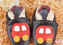 Baby microbus print shoes soft leather baby shoes red car toddler shoes