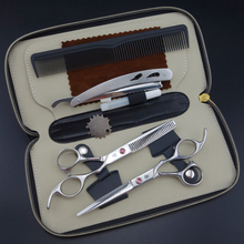 Smith chu Professional Hairdressing Scissors set 62HRC Straight & Thinning cutting with comb, clothes ,oil S017(China)
