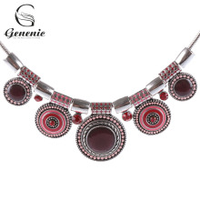 1Piece Ethnic Style Collar Choker Vintage Crystal Alloy Bead Pendant Necklace Tribal Necklace Jewelry(China)