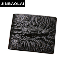 JINBAOLAI alligator top cow genuine leather wallets for men 2017 Crocodile pattern Exquisite craft fashion design men wallets