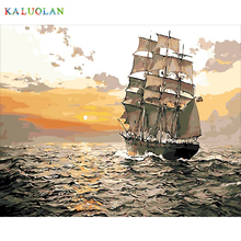 Frameless modern abstract oil painting acrylic oil painting by numbers drawing gift decoration pictures Seaview sailboat(China)