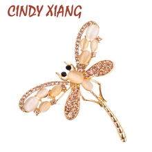 CINDY XIANG Opal and Rhinestone Dragonfly Brooches for Women Cute Insect Brooch Pins Dress Accessories Jewelry 2017 New Arrival(China)
