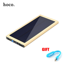 hoco Ultra thin solar metal 10000mah Power Bank External Battery 2 USB Universal Portable Mobile Charger for Phone five color