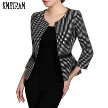 2017 New Women Fashion Blazers Elegant Slim Suit Jacket Long Sleeve Plaid Coat For Office Lady Wear to Work Best Quality D0042