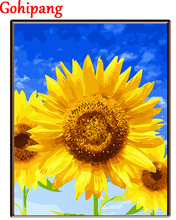 Canvas DIY Sunflower Blue Sky Oil Painting By Numbers Modular Coloring Wall Arts Pictures For Living Room Nordic 16X20in