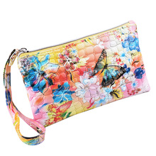 Vintage China Style Women Flower Printing Long Stone Mobile Phone Bag Day Clutch Wristlet Wallet(China)