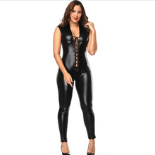 Buy Plus Size Women Sexy Faux Leather Jumpsuit Night Club Bodysuit Adult Latex PVC Catsuit Sleeveless Open Crotch Erotic Clubwear