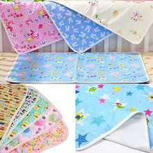 Baby Infant Pink/Yellow/Blue Cartoon  Home Waterproof Newborn Diaper Pad Soft Cotton Nappy Changing  Durable Urine Mat(China)