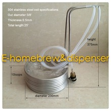 "3/8"" x 25' food grade 304 stainless steel Wort Chiller cooler with tap connector and 2 meters hose(China)"