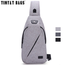 TINYAT Messenger Bag Men Shoulder Bags Black Casual Functional Men Chest Pack dual earphone jack hinking sling bag For Ipad T609
