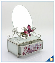 Europe type style flower with butterfly glass crystal jewelry box for decoration SCJ598-MB(China)