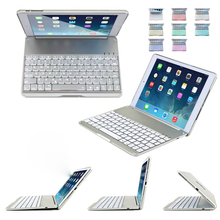Bluetooth Keyboard Protective Case Cover W/ Colorful Backlit Light For iPad Air 2 9.7inch F8S+ QWERTY Aluminium Folio 2016