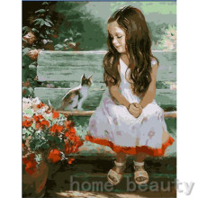 New framed digital oil painting by numbers diy home decoration craft paint on canvas unique gift picture girl and cat E091
