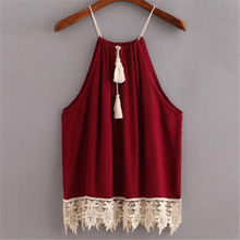 XL Women Sexy Blouse Shirt Plus Size Summer Elegant Sleeveless White Red Crochet Lace Shirt Tops For Woman Blusas Vest camisa