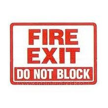 FIRE EXIT DO NOT BLOCK,5.5x4 inch,Self adhesive label sticker,product code PL23, free shipping