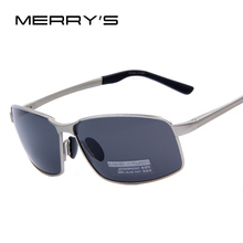 MERRY'S Men Polarized Driving Sunglasses Men Brand Design Sunglasses Blue Mirror Lens Aluminum Alloy Sunglasses Original Case