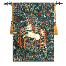 58*80cm Unicorn Design Wall Tapestry Picture Fabric Wall Hanging Moroccan Decor Gobelin Belgium Wall Cloth Tapestries Medieval(China)