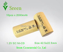 10pcs 2000mAh New Universal Power Tools Battery Cell 1.2V SC NI-CD Rechargeable Batteries Packs DIY To 12V