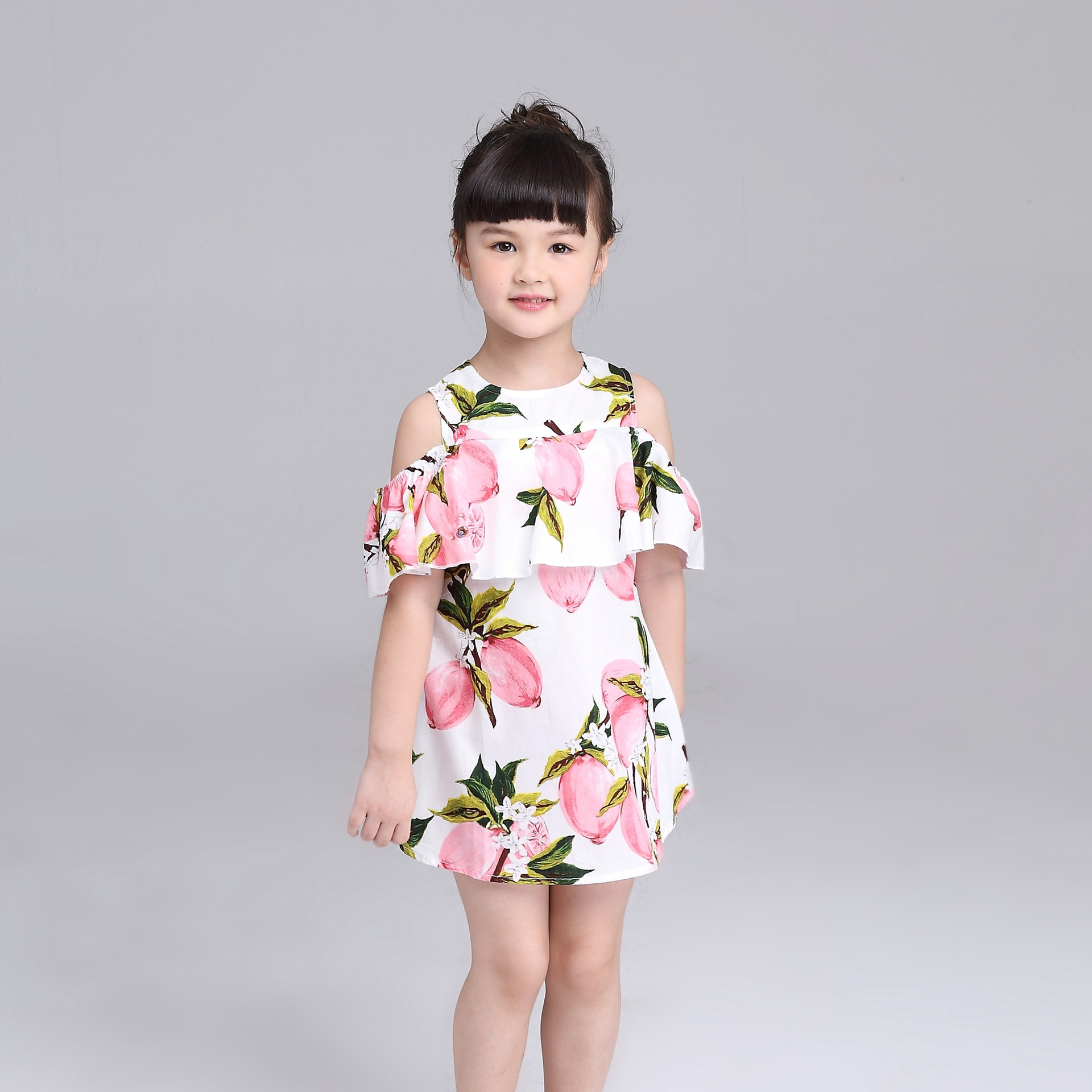 Baby Girl Clothes Sleeveless Pink Lemon Ruched Lotus Leaf Collar Wide Version Doll Dress Kids Girl Princess Dresses Summer<br>