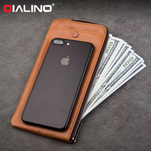 QIALINO Card Slot Holder Leather Wallet Case For LG G6 V20 G5 G4 G3 K10 K7 K8 K7 V10 Bill Site Phone Bags Pouch Purse Holster(China)