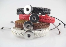 40pcs/lot new hot mix colors pu leather 18mm snap bracelet&bangles  fit ginger snap button charm jewelry free shipping