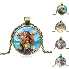 Anime Bronze Plated Jewelry with Glass Cabochon Movie Moana Pattern Choker Long Pendant Necklace for Women Wedding Gift
