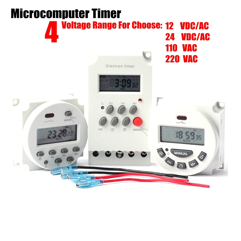 12 24 110 220V Microcomputer Control Time Switch Digital LCD Electronic Programmable Timer Irrigation Pump Time Controller title=