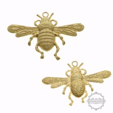 35x55mm vintage brass matte gold beetle bug antiqued DIY pendant charm supplies 1850306(China)