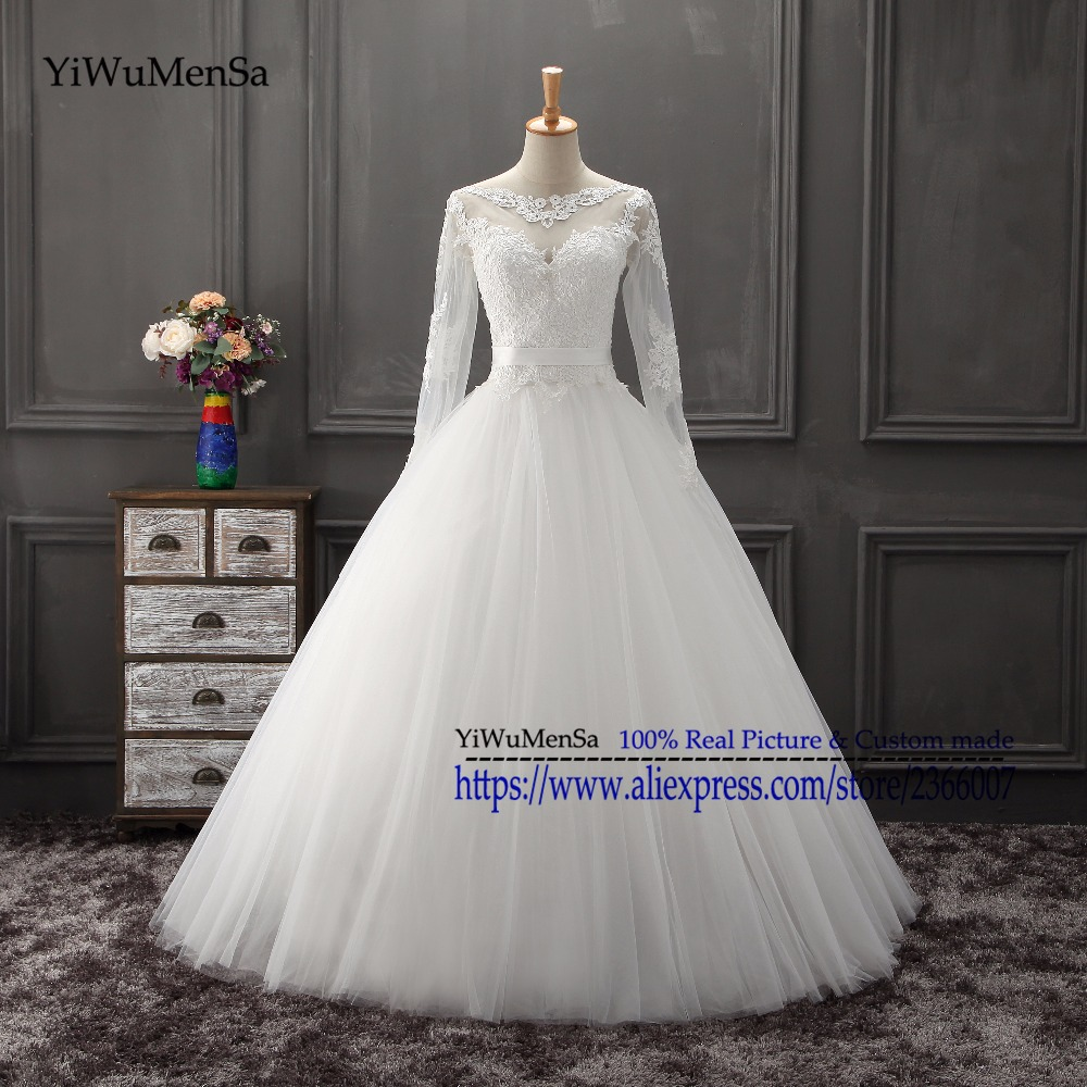 YiWuMenSa Real Photo Lace Appliques a line wedding dresses 2017 African Women wedding dress abiti da sposa musulmana New Arriva(China (Mainland))