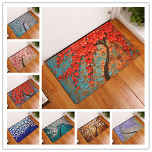 2017  New Colorful Tree Print Carpets Non-slip Kitchen Rugs for Home Living Room Floor Mats 40x60cm